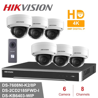 WIFI Hik 8CH DS 7608NI K2/8P HD POE NVR Kit 6pcs 8MP DS 2CD2185FWD I & DS KB6403 WIP Security System IP Camera Surveillance Set
