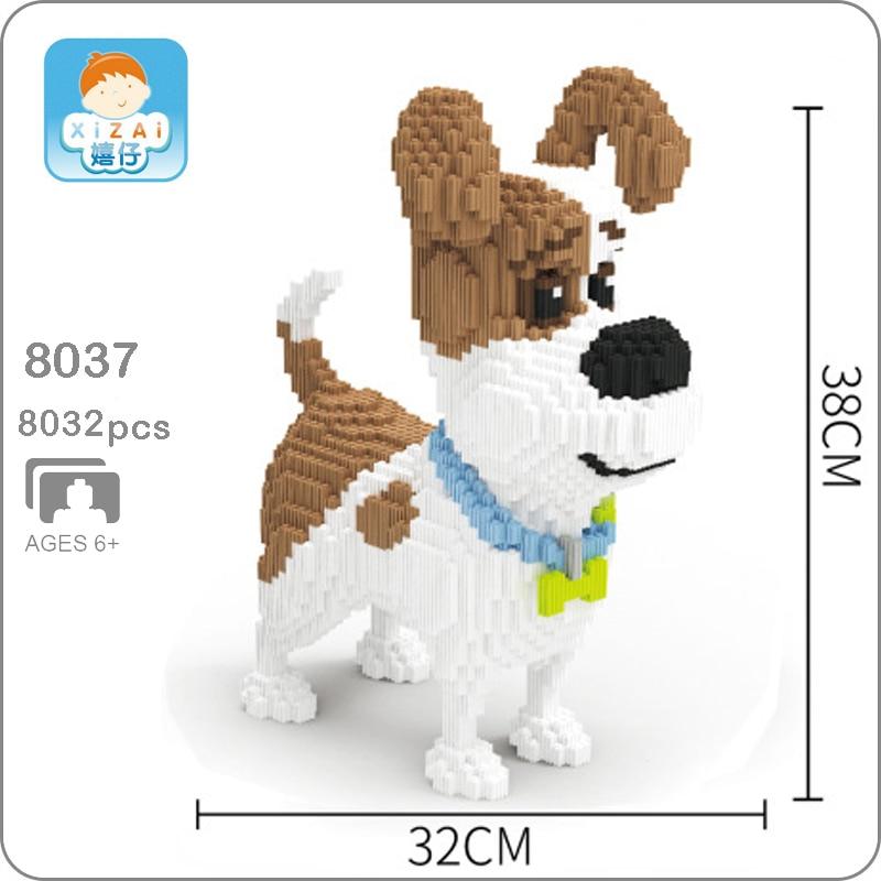 Xizai 8037 ジャックラッセルテリアペット犬動物 3D モデル DIY ミニマイクロビルディングブロックレンガ組立玩具 38 センチメートル背なしボックス  グループ上の おもちゃ & ホビー からの ブロック の中 1