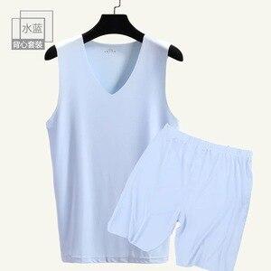 Image 5 - 남자의 원활한 v 목 조끼와 반바지 2 조각 남자 캐주얼 홈 nightwear 남자 9636