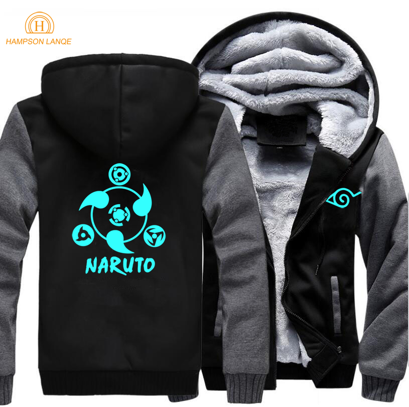 Japanese Anime Naruto Jacket Men 2019 Spring Winter Jackets Mens Sweatshirts Zip Up Plus Size Hoodies Fashion Warm Hoodie S-5XL