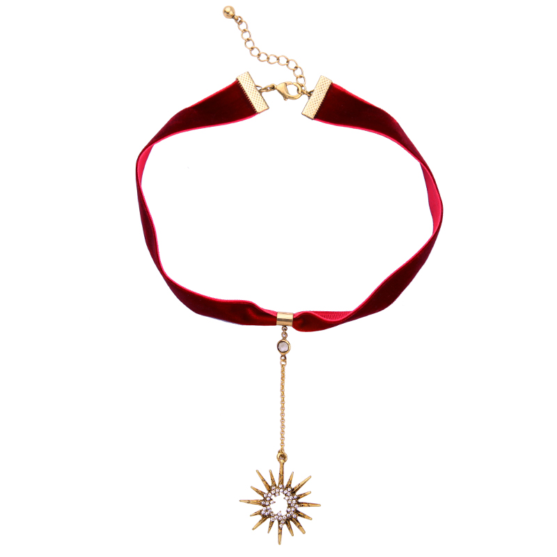 Crystal Star ripats must punane velvet choker kaelakee pop naiste - Mood ehteid - Foto 2