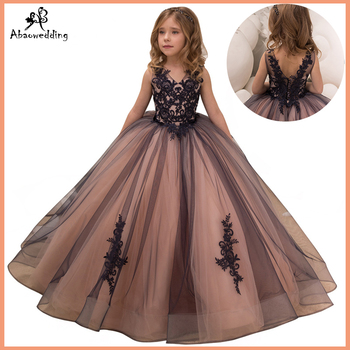 fancy little girls pageant dresses 2-12 years princess party dresses for girls mesh flower dress long kids puffy ball gowns black ball gowns for kids floor length party dresses for girls 2 12 years vestidos tulle mesh flower girls dresses for wedding