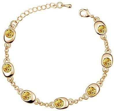Подарок на день рождения, высокое качество, 7 бусин, Звездные глаза, браслеты с кристаллами, модные ювелирные изделия, 12 цветов, милые Подвески для женщин - Окраска металла: gold yellow