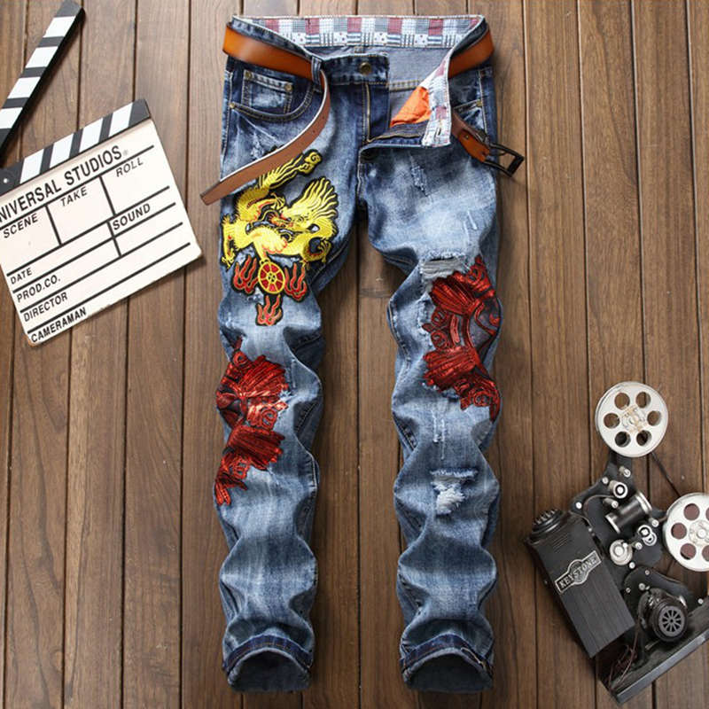New Patchwork Ripped Patches Men Jeans Slim Fit Dragon Embroidered Denim Pants Male Distressed Hip Hop Jean Men's Holes Trousers маэстро уголок кухонный консул 1 бук