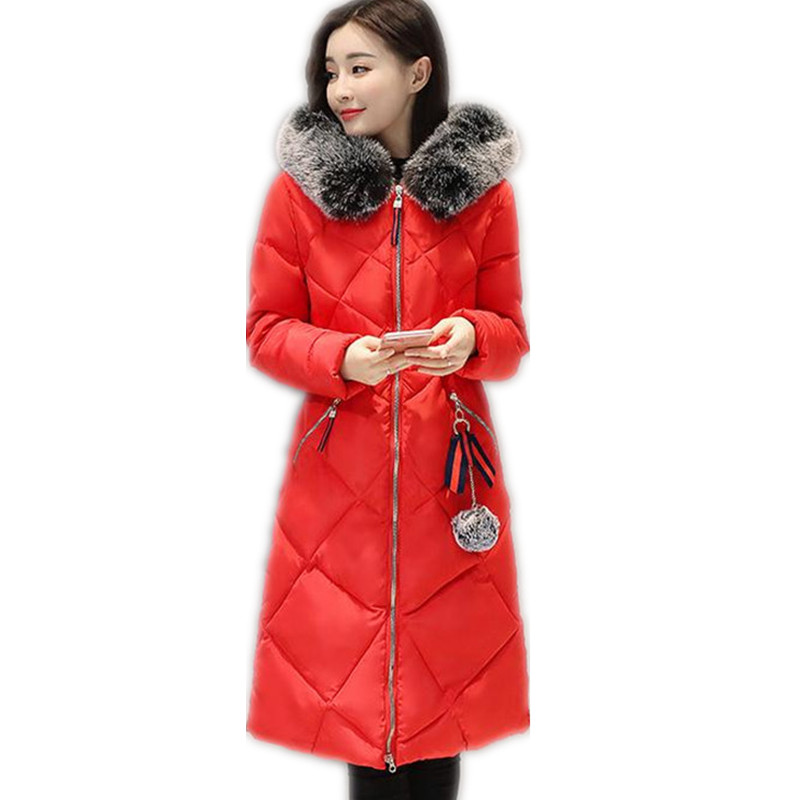 2017New Fashion Winter Women Thicken Down Cotton Jacket Coat A-Line X-Long Female Coat Slim Large Fur Collar Outerwear CoatCQ076