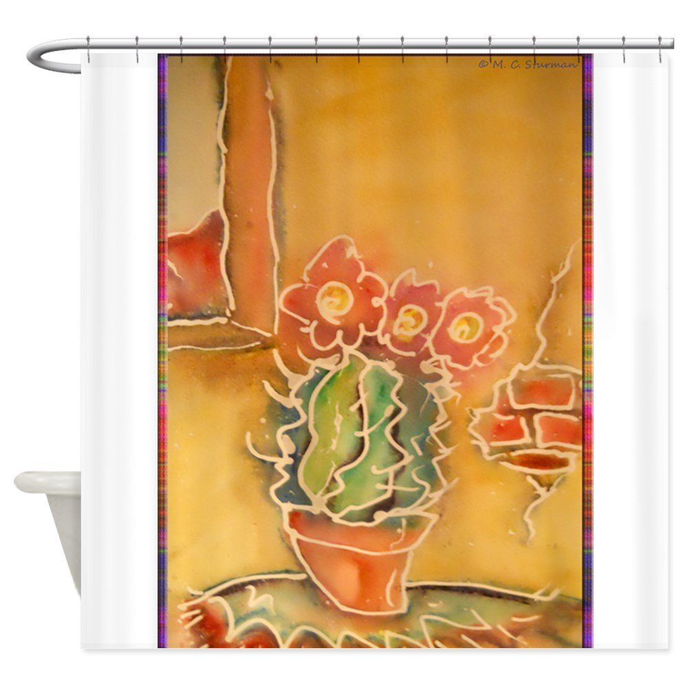 Cactus! Southwest Art! Decorative Fabric Shower Curtain For The Bathroom With 12 Hooks