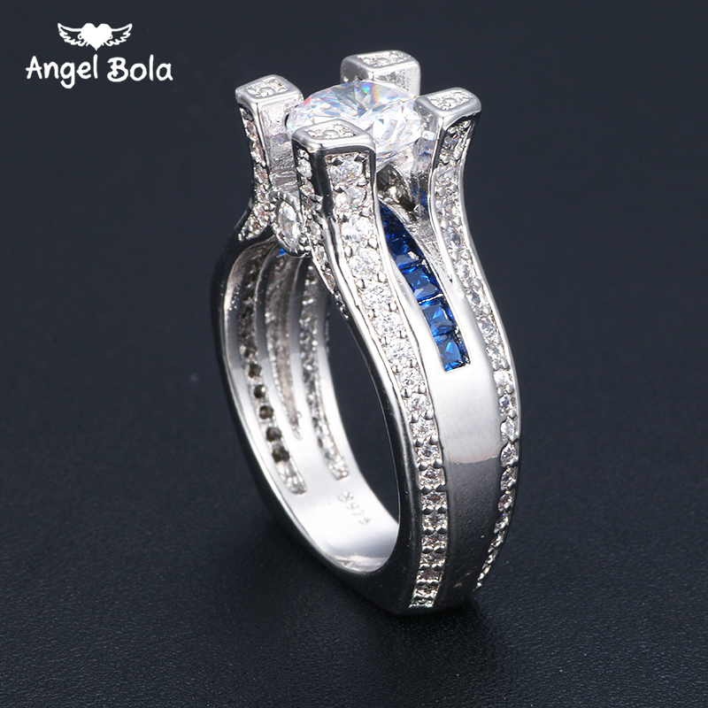 Classic Tiny Clear Round CZ Zircon Womens Engagement Rings Trendy ...