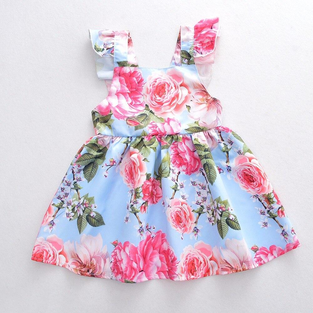 2018 Новые Девушки немного платье принцессы украшенные цветами в летнее платье стилей детей