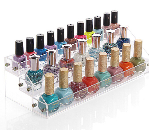 Acrylic Cosmetics Nail Enamel Display Box Showing Stand
