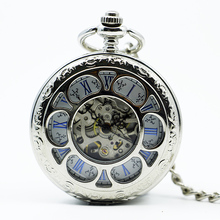 Fashion Flower Hollow Mechanical Hand Wind Pocket Watch Roman Numbers Dial Men Women Fob Watch