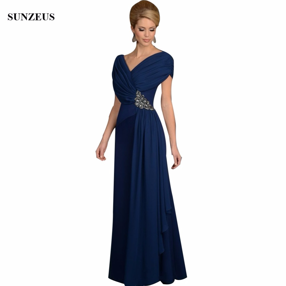 Elegant V Neck Pleated Chiffon Dark Blue Modest 2018 Custom Made Long Mother of the Bride Dresses Ladies Party Gown CM0107