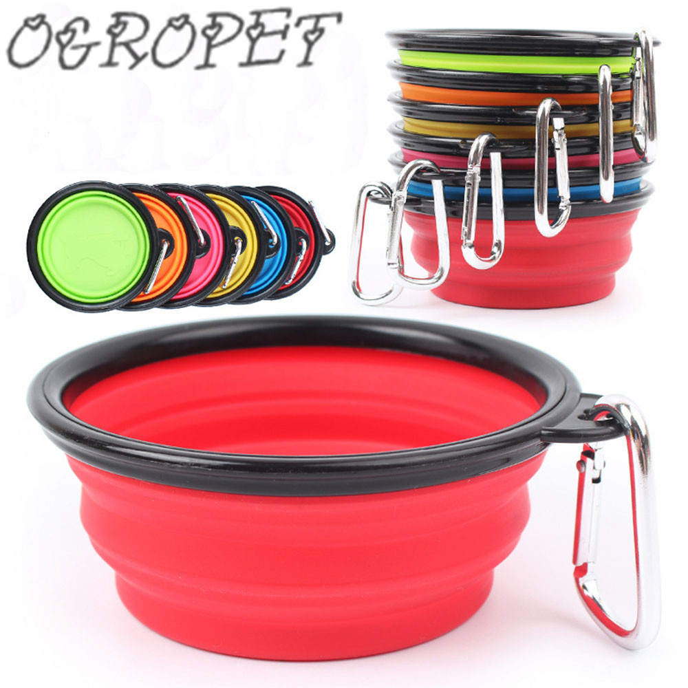 16 color New Collapsible foldable silicone dog bowl candy color outdoor travel portable puppy food container feeder dish on sale