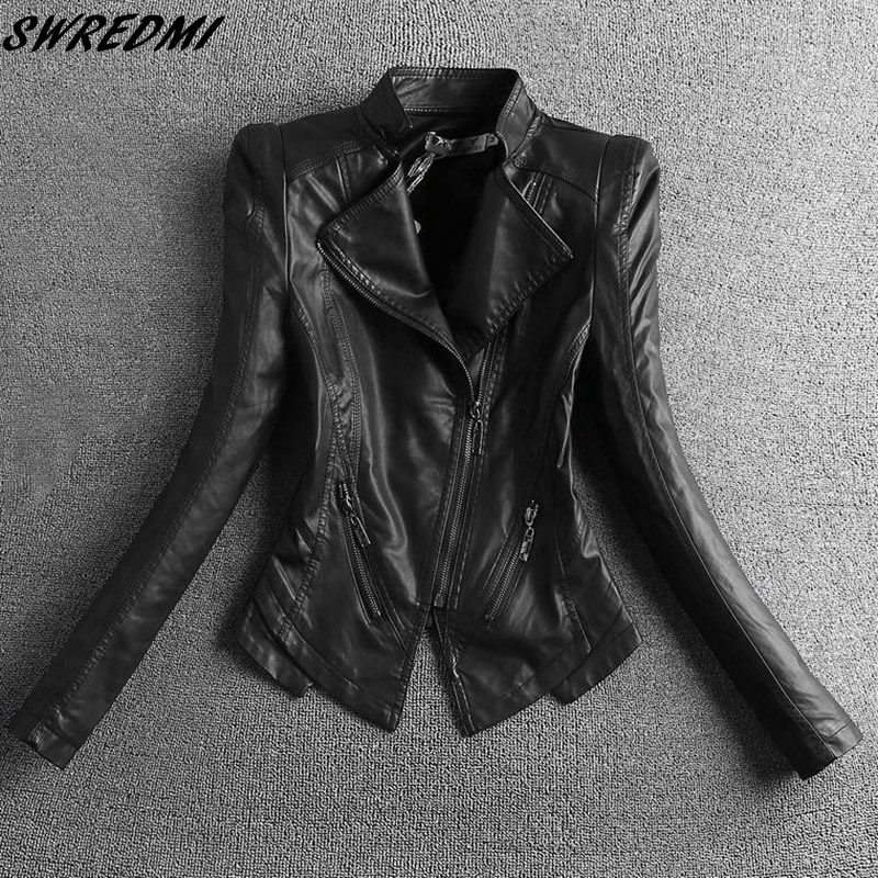 SWREDMI 2018 New Slim Casual Women   Leather   Jacket Mandarin Collar Short Black   Leather   Coats Spring And Autumn   Suede   Outerwear