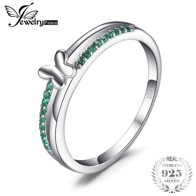 JewelryPalace Butterfly Created Emerald Ring For Women Genuine 925 Sterling Silv