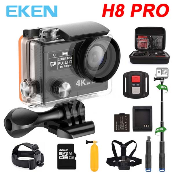 Ultra HD 4K 30fps / 1080P 120fps Ambarella A12 go Sport Action Camera EKEN H8 PRO H8pro H8R with remote Dual Screen action cam