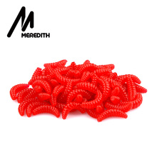 Meredith HOT SELL!! 50pcs 100pcs 150pcs 200pcs 2cm 0.38g maggot Grub Tender Lure Baits scent Worms Glow Shrimps Fishing Lures