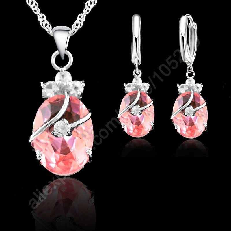 Charming 925 Sterling Silber Österreichischen Kristall Wasser Tropfen Anhänger Halskette Ohrringe Sets Für Frauen Hochzeit Schmuck Sets