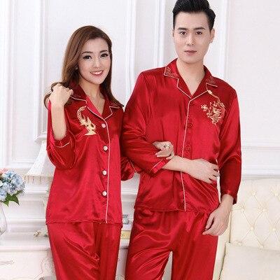 06a8e9396748 € 15.55 33% de DESCUENTO Pijama de pareja de lujo emulación de seda para  mujer Pijama de manga larga para hombre Pijama sólido para amantes de la  ropa ...