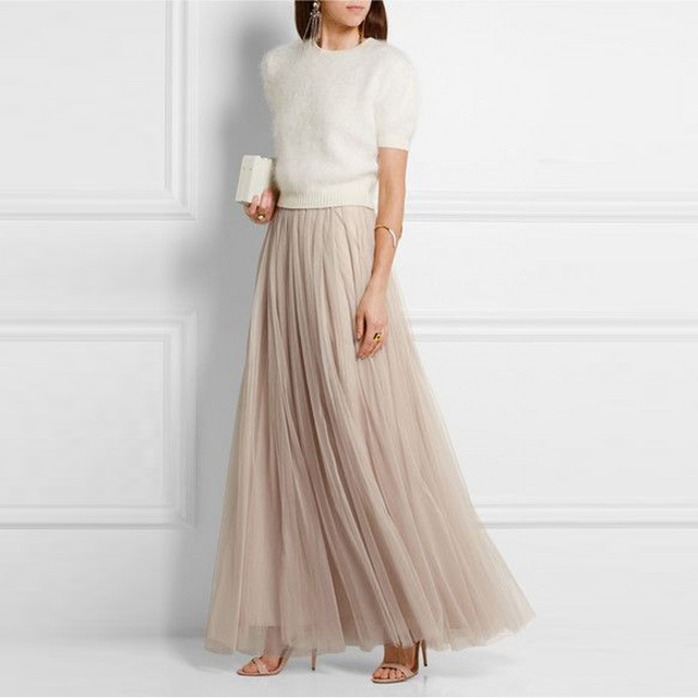 abe1a5ec3 Soft Tulle Skirt A Line Floor Length Maxi Skirt Champagne Modest Women Skirt  High Quality Skirt For Evening Party 2016
