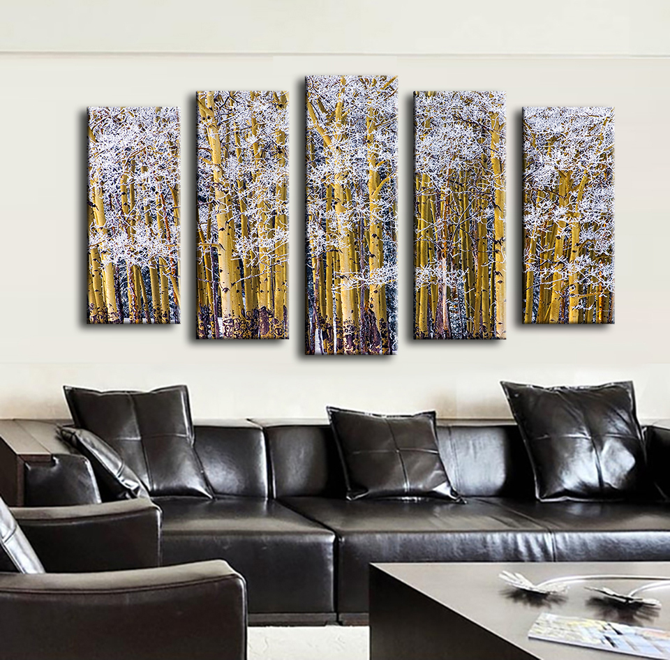 2017 Cuadros Decoracion Paintings 5pcs Colorado Frosted Aspens Wall Painting For Home Decor Art Print Canvas
