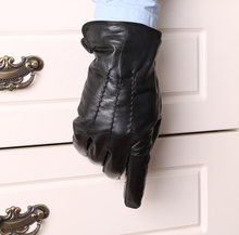 man's fashion winter warm classic back three lines genuine leather black gloves