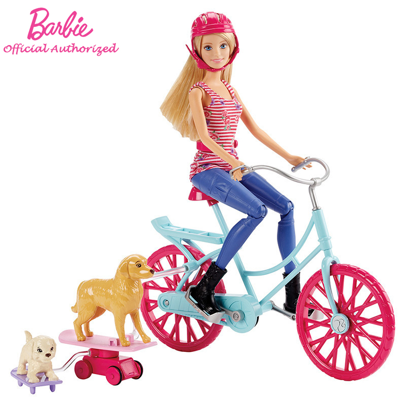 Funny Barbie Doll Toy And Friend Pet Dog Riding Girl With Beautiful Bicycle Barbie Boneca Set Mode CLD94 usb powered funny cute stress relieving humping spot dog toy brown chocolate white