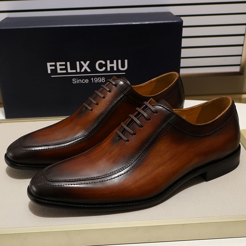 Felix Chu Mens Dress Shoes Solid Colors In Calfskin Apron Toe Oxford Brown Black Genuine Leather Lace Up Mens Formal Shoes Ture 100% Guarantee Formal Shoes Shoes