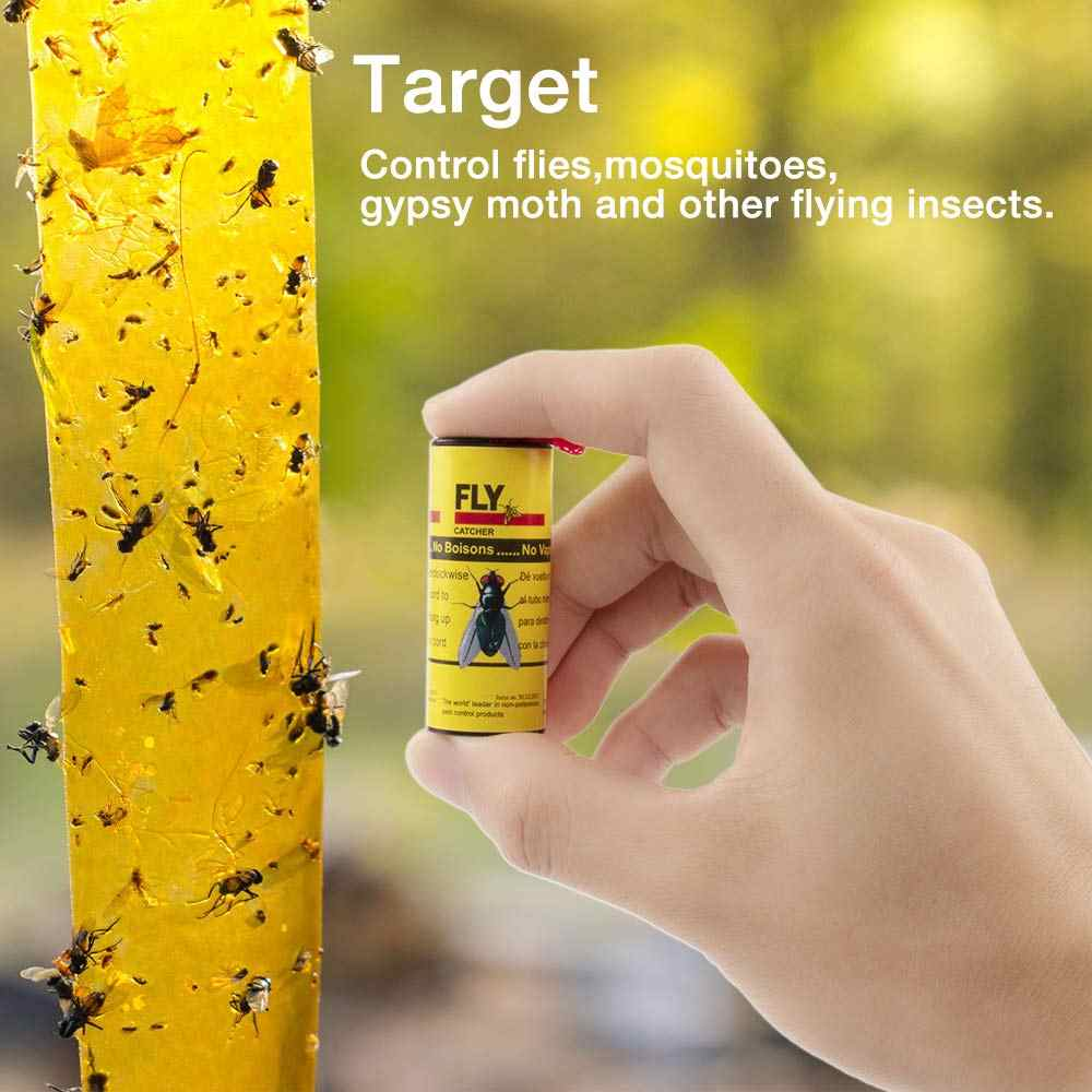4/8/12/16 Pcs Sticky Fly Linten Roll Dual Zijdig vliegt Papier Strips Insect Bug Thuis lijm Flytrap Catcher Bug Mosquito Killer
