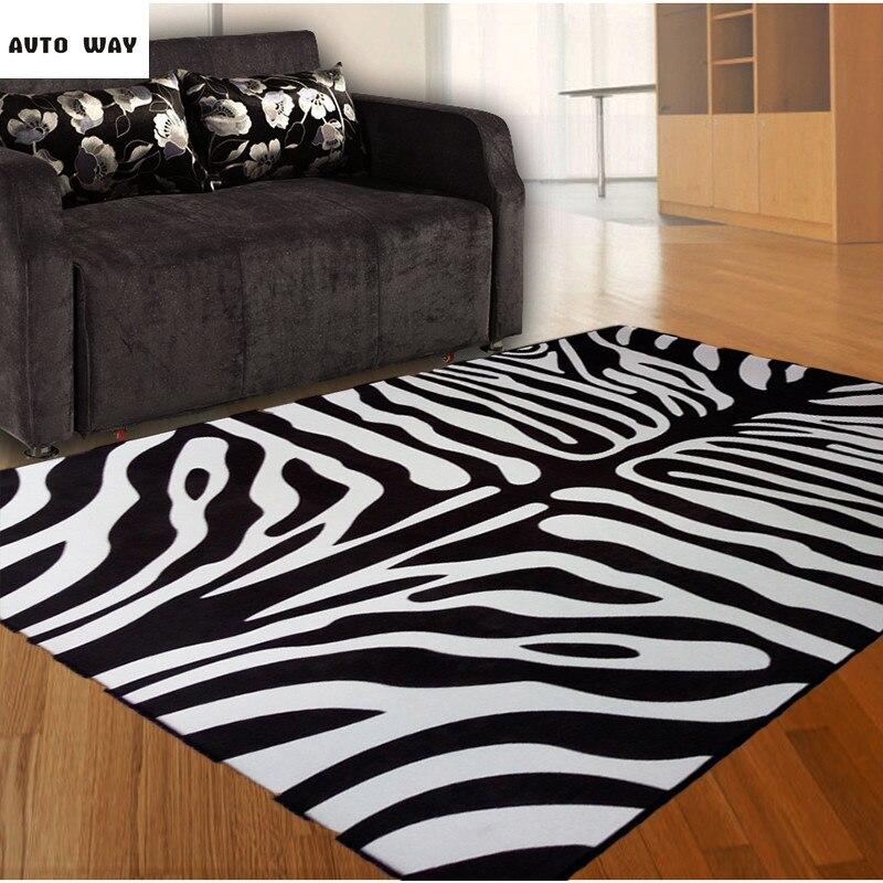 Mode tendance zèbre tapis noir et blanc nordique salon canapé table basse chambre rectangulaire tapis cristal velours tapis de sol