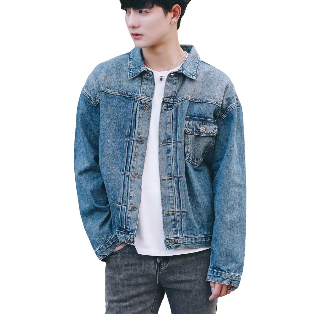 Menu0026#39;s Rugged Wear Denim Jacket Distressed Long Sleeve Vintage Blue Jeans Coats 2017 Fashion ...