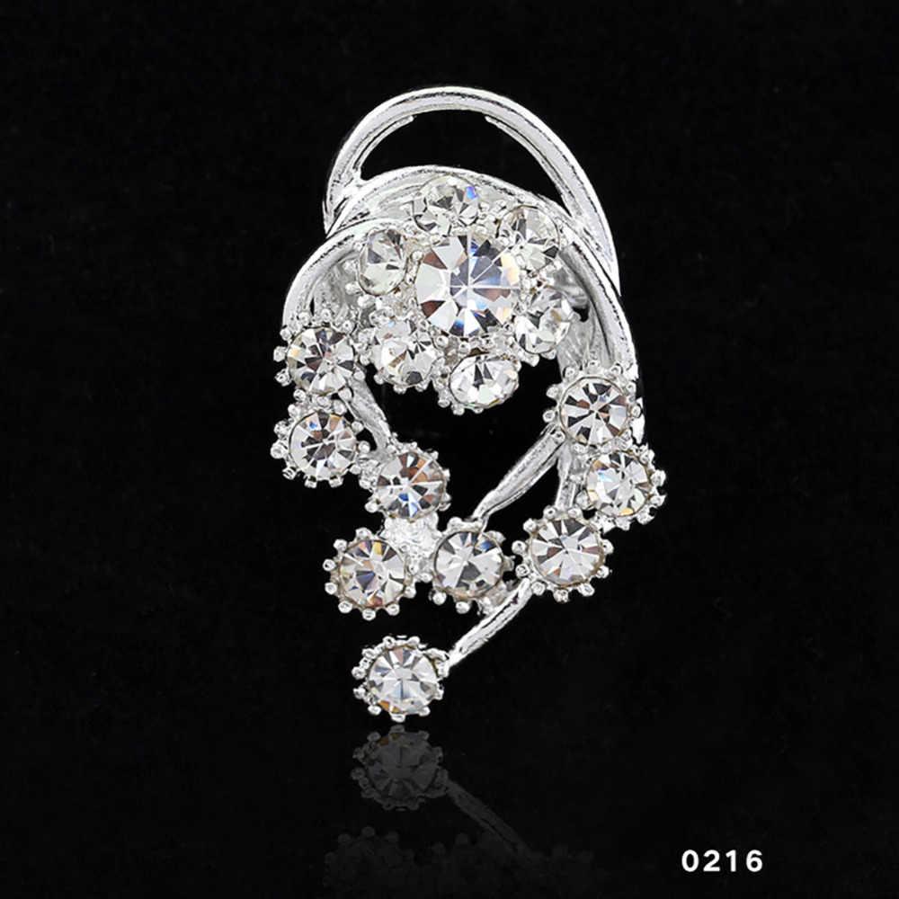 14 Jenis Fashion Bridal Bouquet Bunga Pola Pin Bros Rhinestone Bertatahkan Kristal Wanita Bros Pernikahan Perhiasan