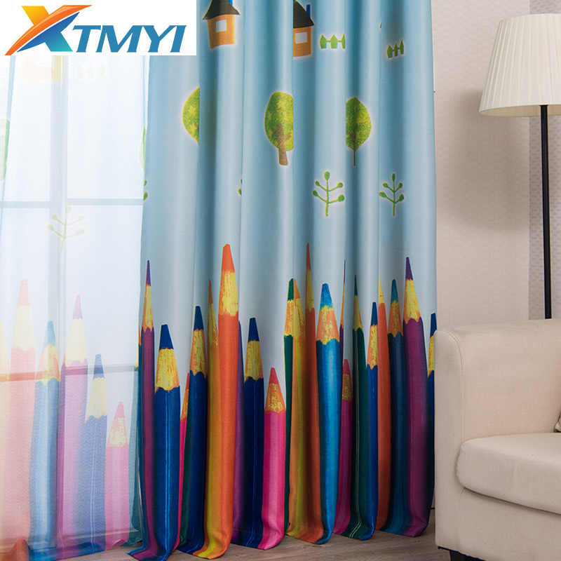 Window pencil Curtains Living Room Boys Children Cartoon Blue Curtains Sheer Child Curtain Bedroom Kids