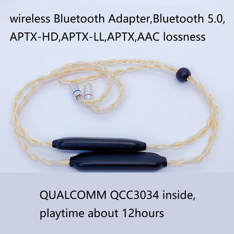 APTX HD Bluetooth Cable 5.0 APTX LL APTX AAC 2PIN MMCX 4 Mixed OCC Silver Plated Cable MIC For TF10 W4R IE80S UE QCC3034 CSR8675