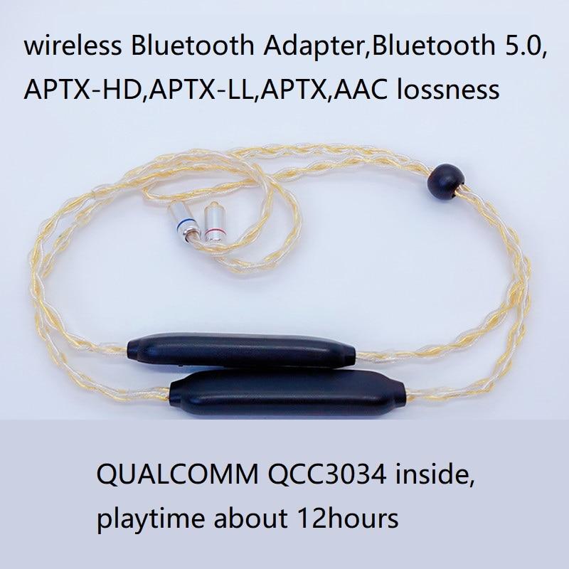 Tecnología APTX HD Bluetooth cable 5,0 APTX le APTX AAC 2PIN MMCX 4 mixto OCC chapados en plata Cable de micrófono para TF10 w4R IE80S UE QCC3034 CSR8675