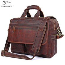 Genuine Leather Men Bag Men's Briefcases 15.6 inch Leather Laptop Bag business Male men travel Tote crossbody Bags