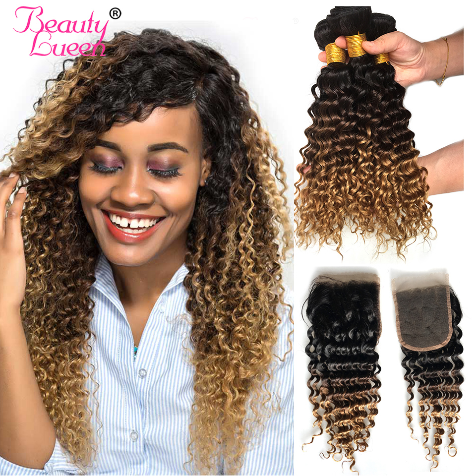 Ombre Deep Wave 3 Bundles With Closure T1B 4 27 Ombre Brazilian Hair Weave Bundles 3