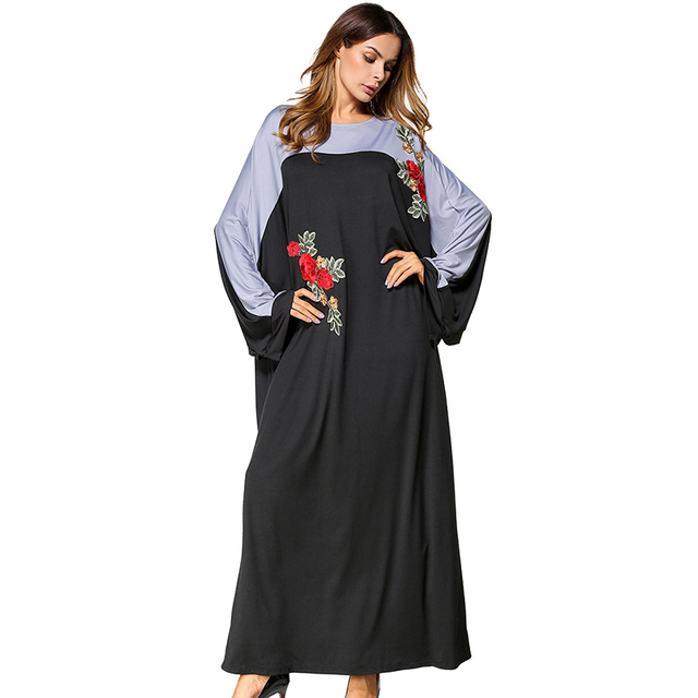 f25db28ac0e Muslim Abaya Embroidery Maxi Dress Bat Sleeve Loose Style Kimono Long Robes  Jubah Moroccan Middle East Arab Islamic Clothing