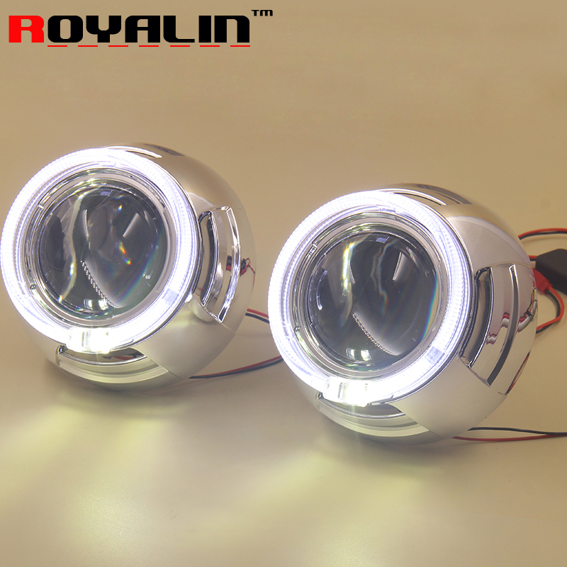 3.0 inch Metal HID Bi-xenon Projector Lenses with 95mm White LED Angel Eyes Halo Ring DRL for Auto Headlights H1 lamp H4 H7 Cars car styling bi xenon hid h1 projector lens 3 0 inch metal bracket lhd rhd with led cob angel eyes halo rins for lotus auto h4 h7