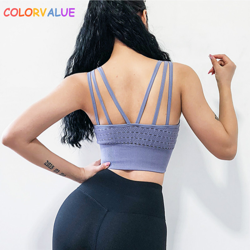 Colorvalue High Support Seamless Sports Bra Women Hollow Out Fitness Workout Crop Tops Nylon Running Bras With Removable Pads