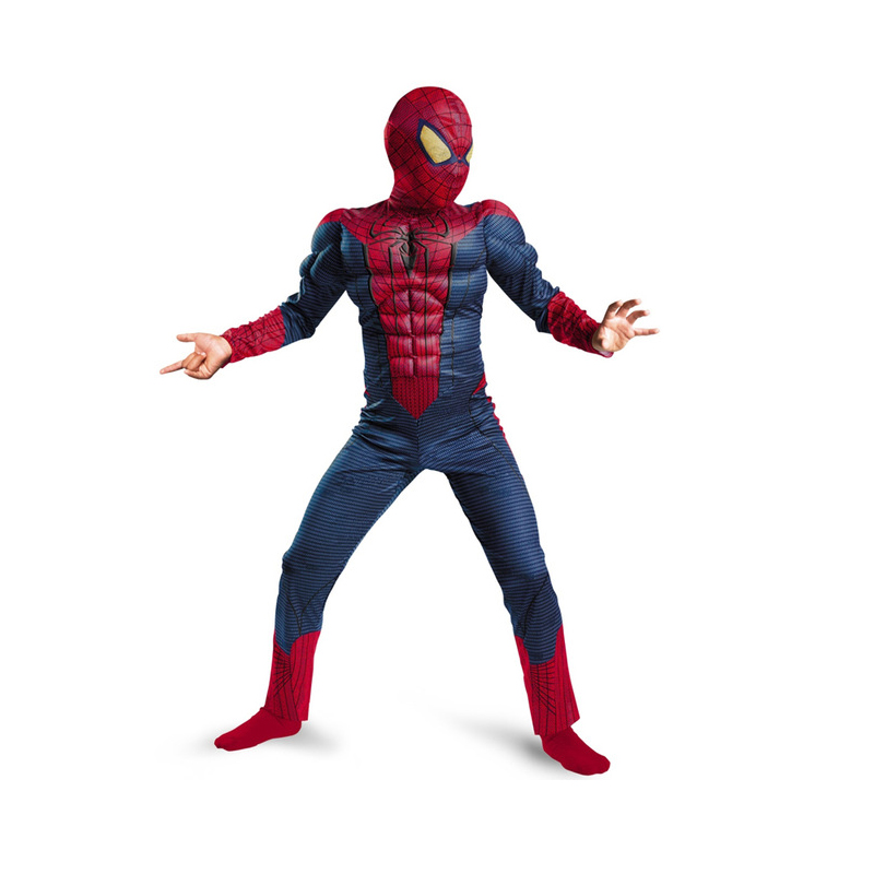 Spiderman Costume Deluxe Muscle Kids Superhero Cosplay Jumpsuit Halloween Costumes for Child Boy's Birthday Party Clothing ninja ninjago superhero spiderman batman capes mask character for kids birthday party clothing halloween cosplay costumes 2 10y