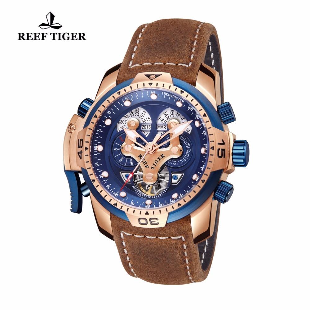 Reef Tiger / RT Marka zegarki wojskowe dla mężczyzn Rose Gold Blue - Męskie zegarki - Zdjęcie 2