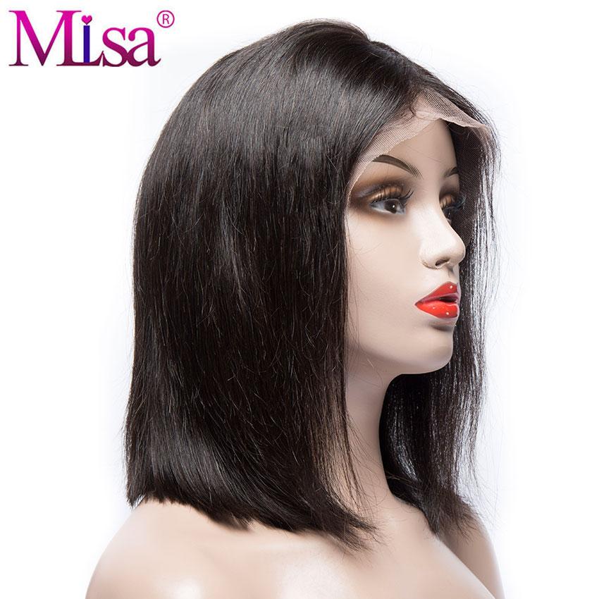 Mi Lisa Bob Lace Front Parycker Humain Hair Remy Brasilian Hair Paryk - Mänskligt hår (svart) - Foto 2