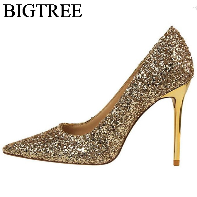 New Wedding Bling Giltter High Heels Ladies Shoes Pointed Toe Sequined Nightclub Sexy Pumps Party Prom Shoes Thin Heel Stiletto yougolun women bling pumps sexy pointed toe high heels 9 5cm fashion woman thin heel party elegant ladies office gold shoes