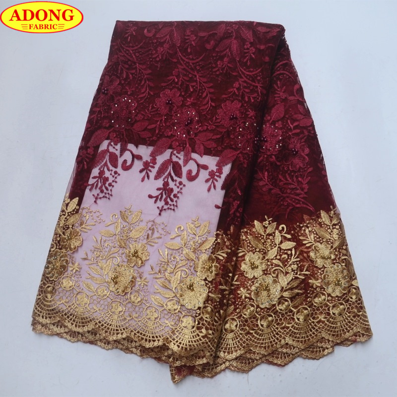 ADONG Gold Hollow Lace Trim Patched Embroider Flower French Tulle Lace  Fabric with Stones Beads Burgundy African Lace Fabric -in Lace from Home    Garden on ... 4eef964533ab