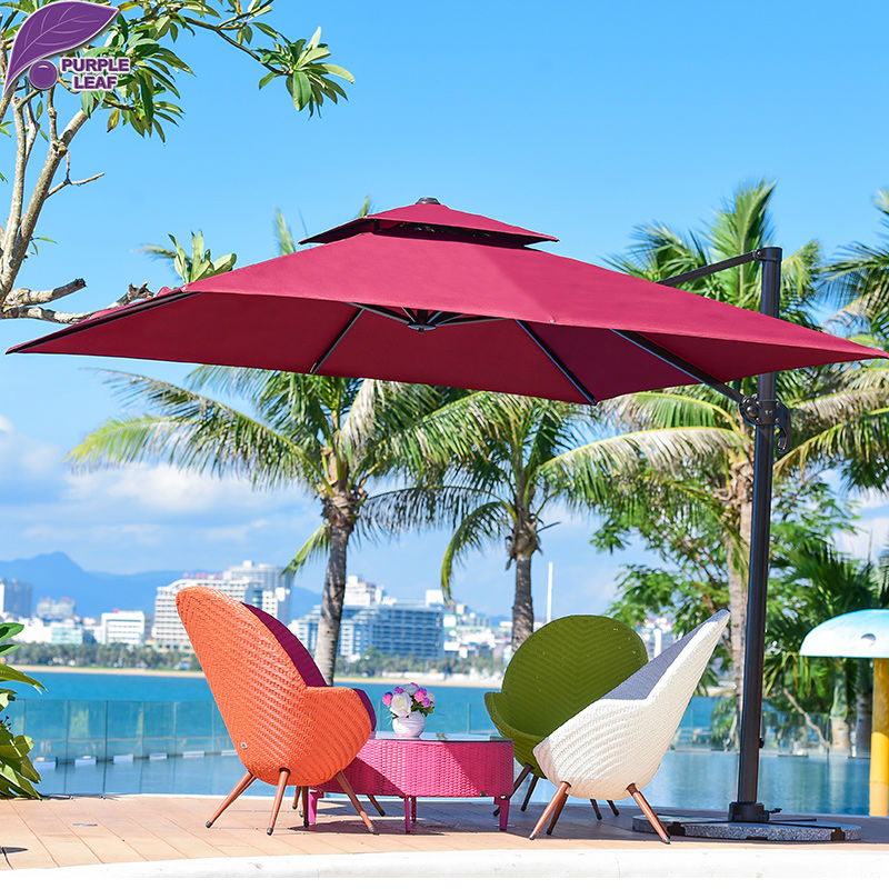purple leaf reinforce outdoor patio garden umbrella with handle and crank sun shade offset in. Black Bedroom Furniture Sets. Home Design Ideas