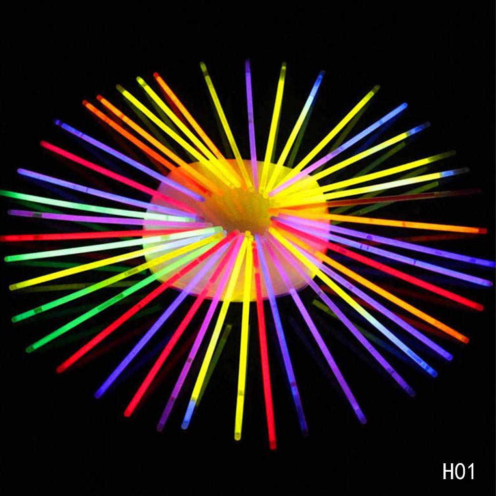 50/100Pcs With Connector Glow Sticks Bracelets Necklaces Party Fluorescent Neon Colors Xmas Wedding Christmas Decoration