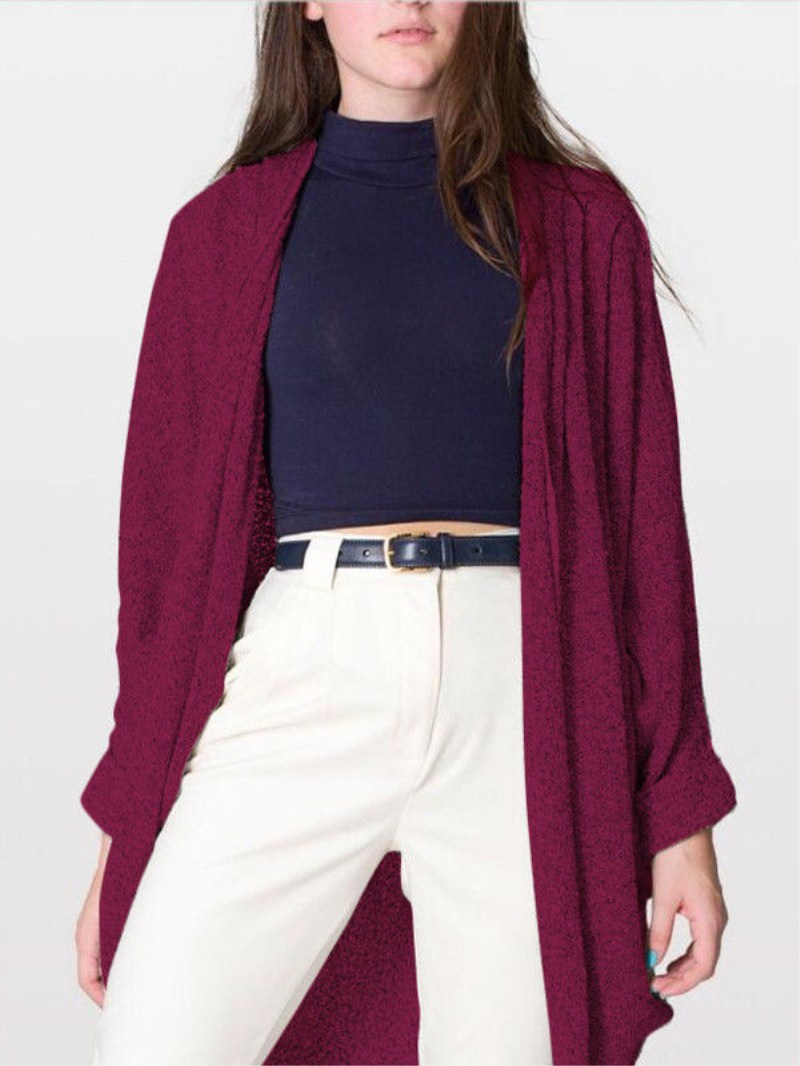 Fashion font b Women b font Casual Long Sleeve Batwing Sleeve Loose Tops Knitted Cardigan Open