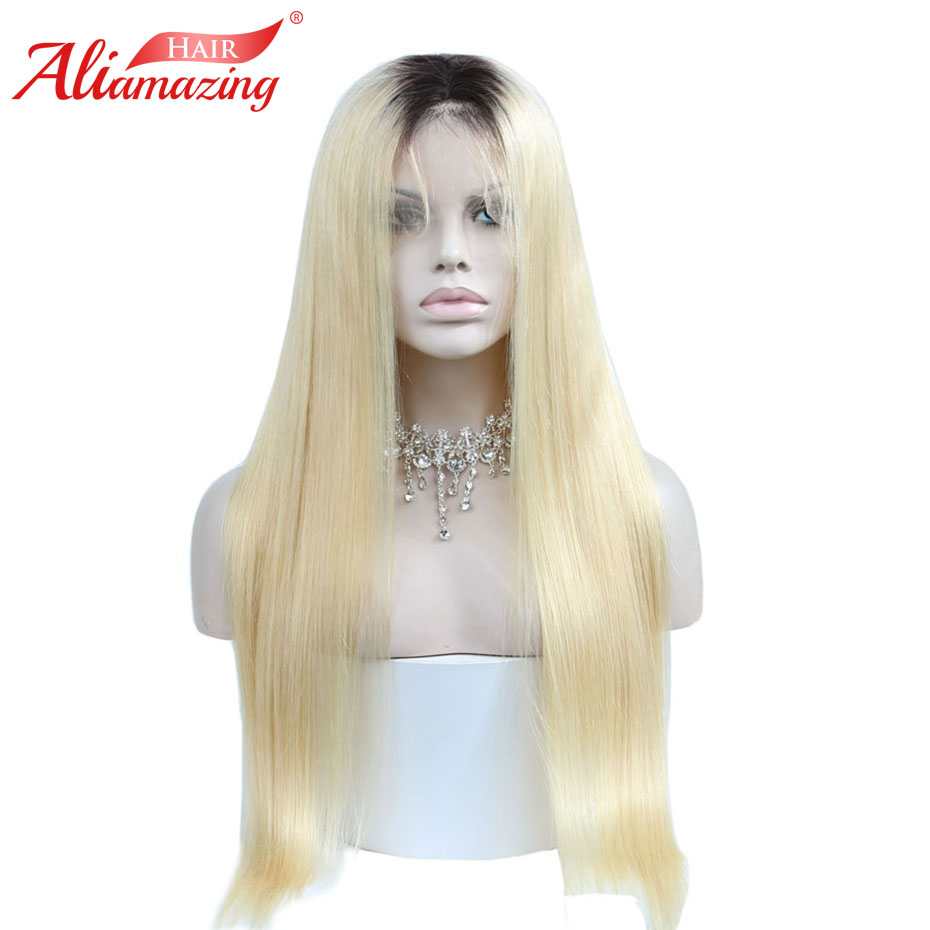 Ali Amazing Hair Ombre 613 Blonde Glueless Pre Plucked Lace Front Wig 130% Density Lace Front Remy Human Hair Wig with Baby Hair image