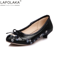 LAPOLAKA 2018 Spring Autumn Bow Flower Embroider Pumps Women Med Heels Shallow Shoes Woman Big Size