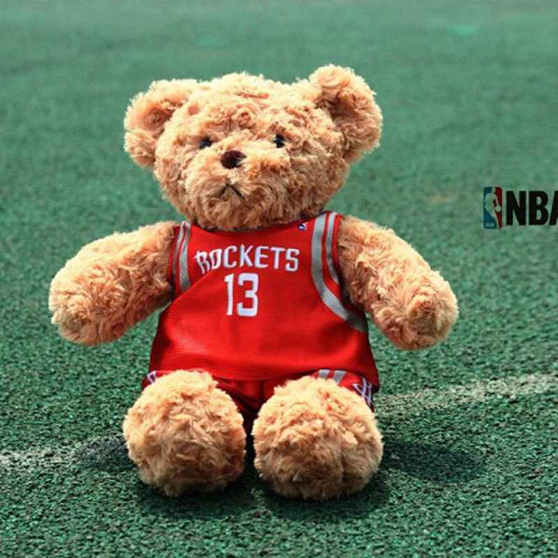35cm Lovely Teddy Bear With NBA Jerseys plush toy Harden Curry Westbrook James soft sfuffed animal toys basketball for kids